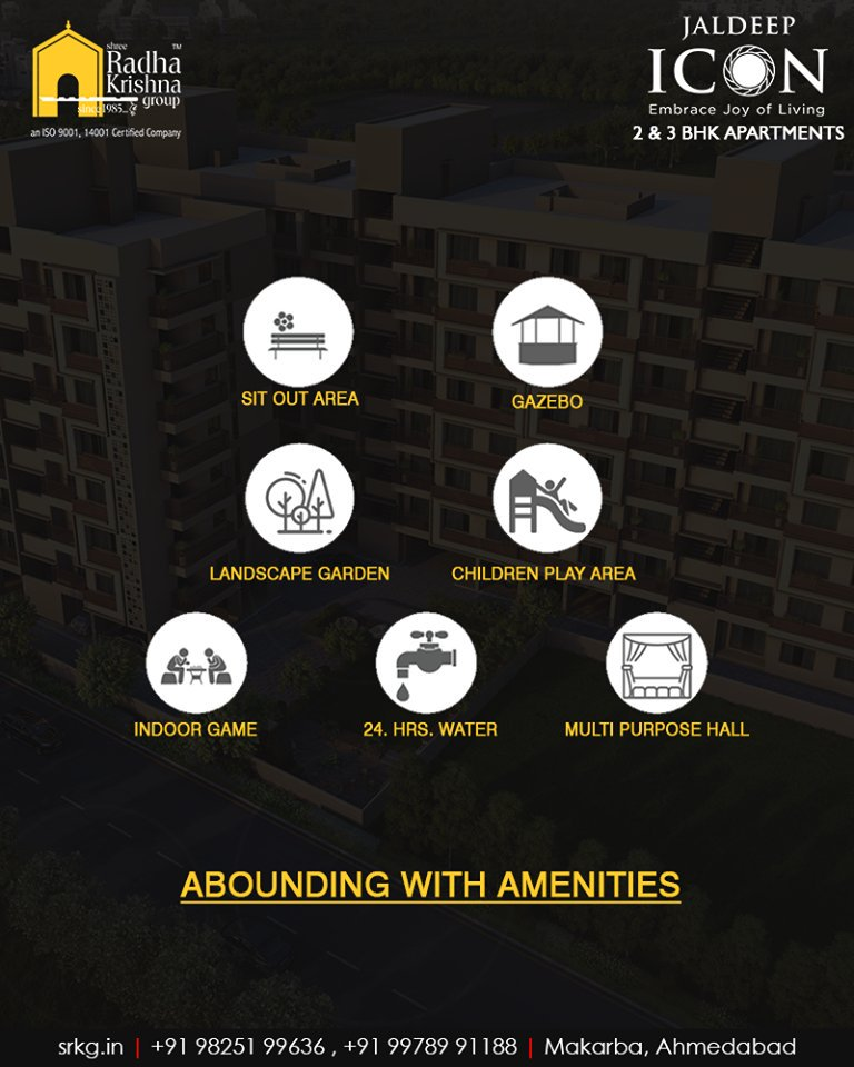 The iconic apartments at #JaldeepIcon are abounding with amenities & luxuries of the modern days to offer its residents boundless delight.  #AboundingWithAmenities #IconicAbodes #SampleFlatReady #2and3BHKApartments #LuxuryLiving #ShreeRadhaKrishnaGroup #Makarba #Ahmedabad https://t.co/RkfVYwyqhN