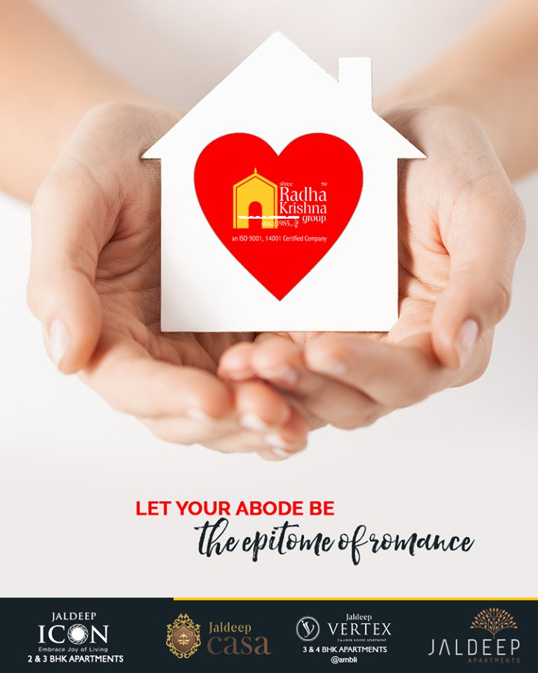 It is the presence of love that transforms a house into home. Awaken the love within and let your abode be the epitome of romance.  #TOTD #HappyHomes #YourHome #ShreeRadhaKrishnaGroup #Ahmedabad #RealEstate #JaldeepApartment #JaldeepVertext #JaldeepCasa #JaldeepIcon https://t.co/R0kdIEwr9P