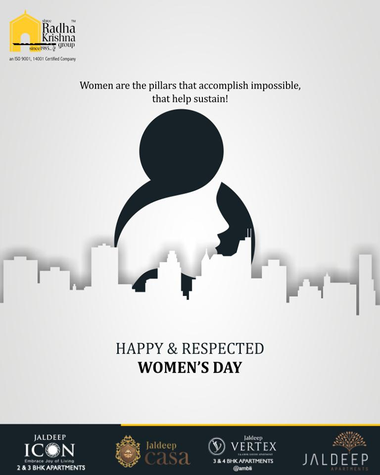 Women are the pillars that accomplish impossible, that help sustain!  Happy Women's Day  #WomensDay #InternationalWomensDay #HappyWomensDay #WomensDay2019 #8March2019 #ShreeRadhaKrishnaGroup #Ahmedabad #RealEstate #LuxuryLiving https://t.co/2vXS5TCepw
