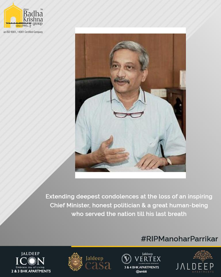 Extending deepest condolences at the loss of an inspiring Chief Minister, honest politician & a great human-being who served the nation till his last breath.   #RIPManoharParrikar #ManoharParrikar #RIPParrikar #ShreeRadhaKrishnaGroup #Ahmedabad #RealEstate https://t.co/mFv9pD812J
