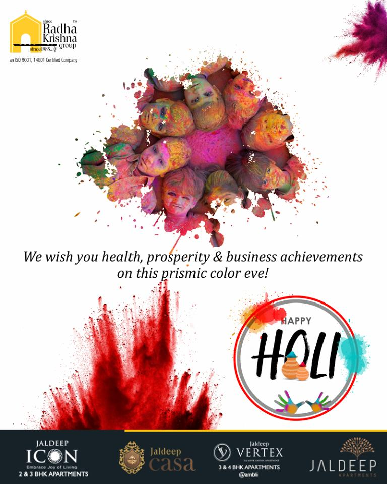 Happy Holi to you & your family! We wish you health, prosperity & business achievements on this prismic color eve!   #HappyHoli2019 #Holi2019 #HappyHoli #होली #Holi #IndianFestival #FestivalOfColours #ShreeRadhaKrishnaGroup #Ahmedabad #RealEstate #LuxuryLiving https://t.co/VAeVK9K1kn
