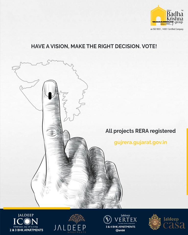 Have a vision, Make the right decision. Vote!  #VoteIndia #GoVote #Election2019 #Vote #ShreeRadhaKrishnaGroup #Ahmedabad #RealEstate #LuxuryLiving https://t.co/J4cdtY2qI8