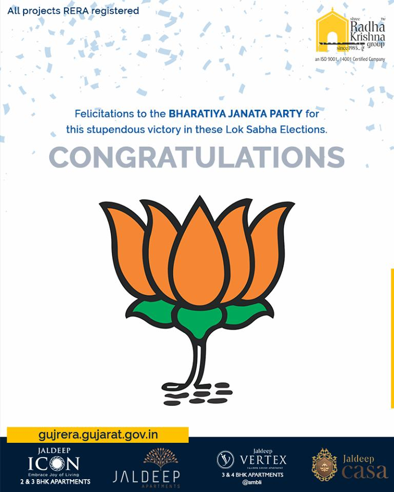 Felicitations to the Bharatiya Janata Party (BJP) for this stupendous victory in these Lok Sabha Elections.  #Congratulations #VijayiBharat #IndianElections2019 #ElectionResults2019 #ShreeRadhaKrishnaGroup #Ahmedabad #RealEstate #WorldOfHappiness https://t.co/gvy8duVNND