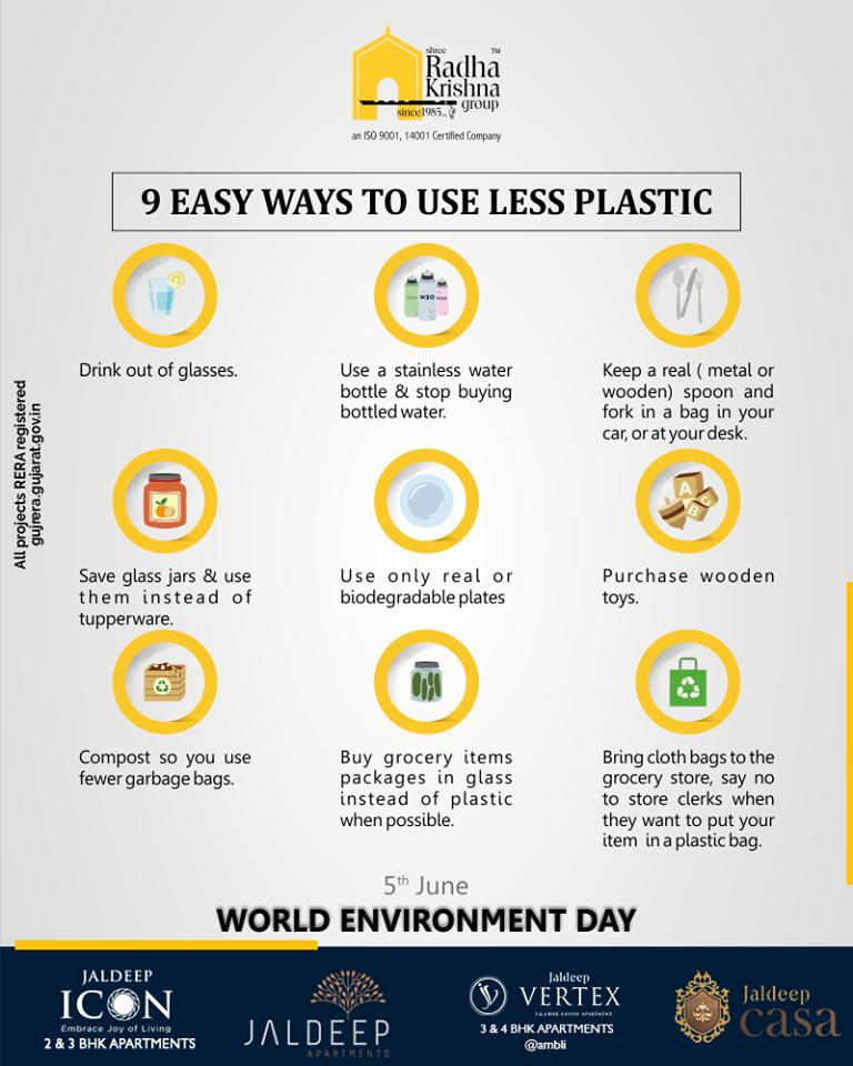 This Environment Day learn 9 easy ways to use less plastic  #WorldEnvironmentDay #EnvironmentDay #SaveEnvironment #PledgeGreen #ShreeRadhaKrishnaGroup #SRKG #Ahmedabad #RealEstate https://t.co/Y2I2PwcSnk