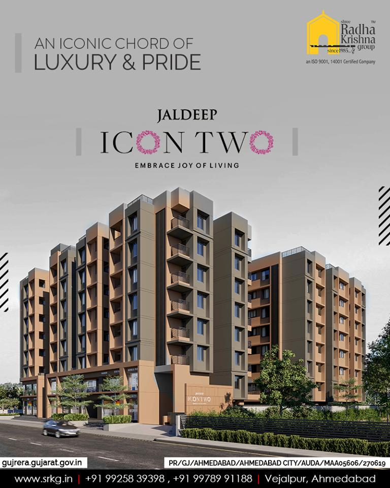 Befitting today's royalty, #JaldeepIcon2 will be an iconic chord of luxury & pride for you.  #Icon2 #ShreeRadhaKrishnaGroup #Ahmedabad #RealEstate #SRKG https://t.co/7idOk8AIAq