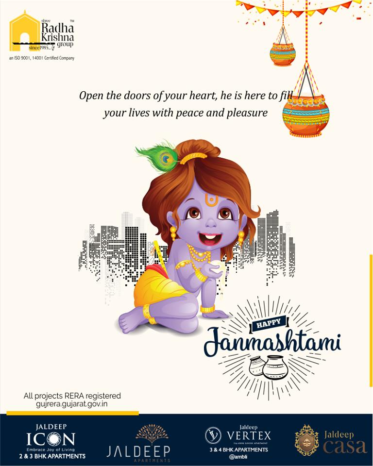 Open the doors of your heart, he is here to fill your lives with peace and pleasure.  #LordKrishna #Janmashtami #HappyJanmashtami #Janmashtami2019 #ShreeRadhaKrishnaGroup #Ahmedabad #RealEstate #SRKG https://t.co/XvGOwJXhkR