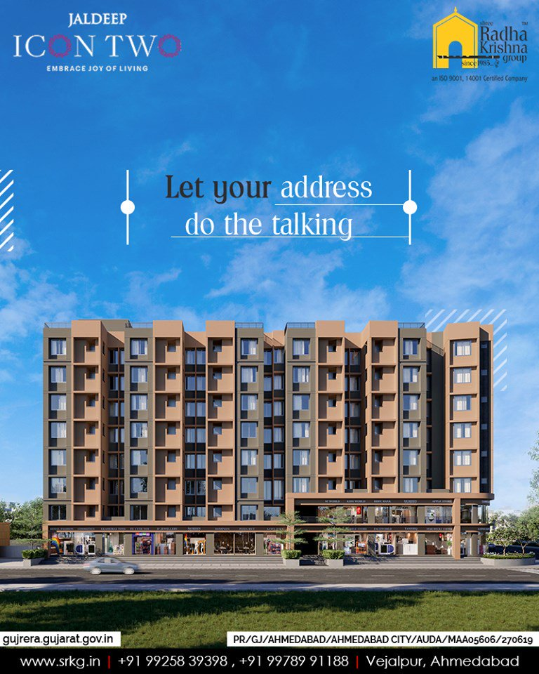 Get used to many envious smiles and let your address do the talking at #JaldeepIcon2.  #Icon2 #ShreeRadhaKrishnaGroup #Ahmedabad #RealEstate #SRKG https://t.co/ZAy3gmXaOF