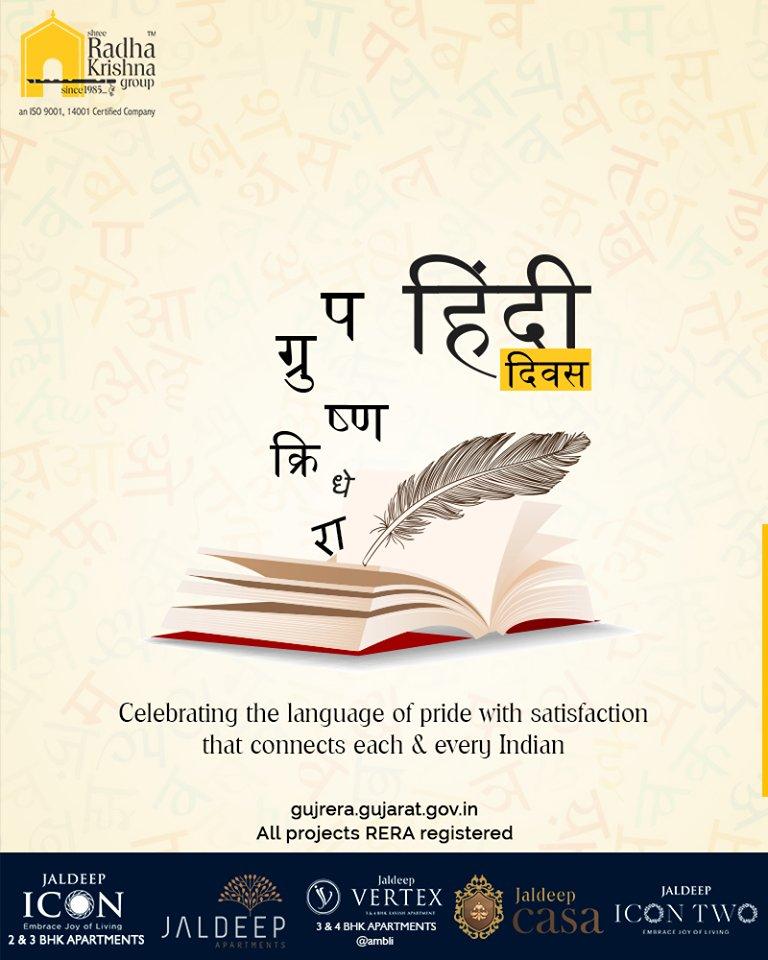 Celebrating the language of pride with satisfaction that connects each & every Indian  #हिंदी_दिवस #हिंदीदिवस #HindiDiwas #ShreeRadhaKrishnaGroup #Ahmedabad #RealEstate #SRKG https://t.co/6AgUVlCvtO