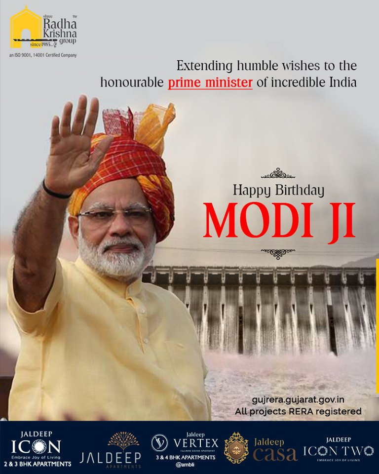Extending humble wishes to the honorable prime minister of incredible India  #HappyBdayPMModi #HappyBirthDayPM #NarendraModi #NAMO #ShreeRadhaKrishnaGroup #Ahmedabad #RealEstate #SRKG https://t.co/Emiw4xEfUv
