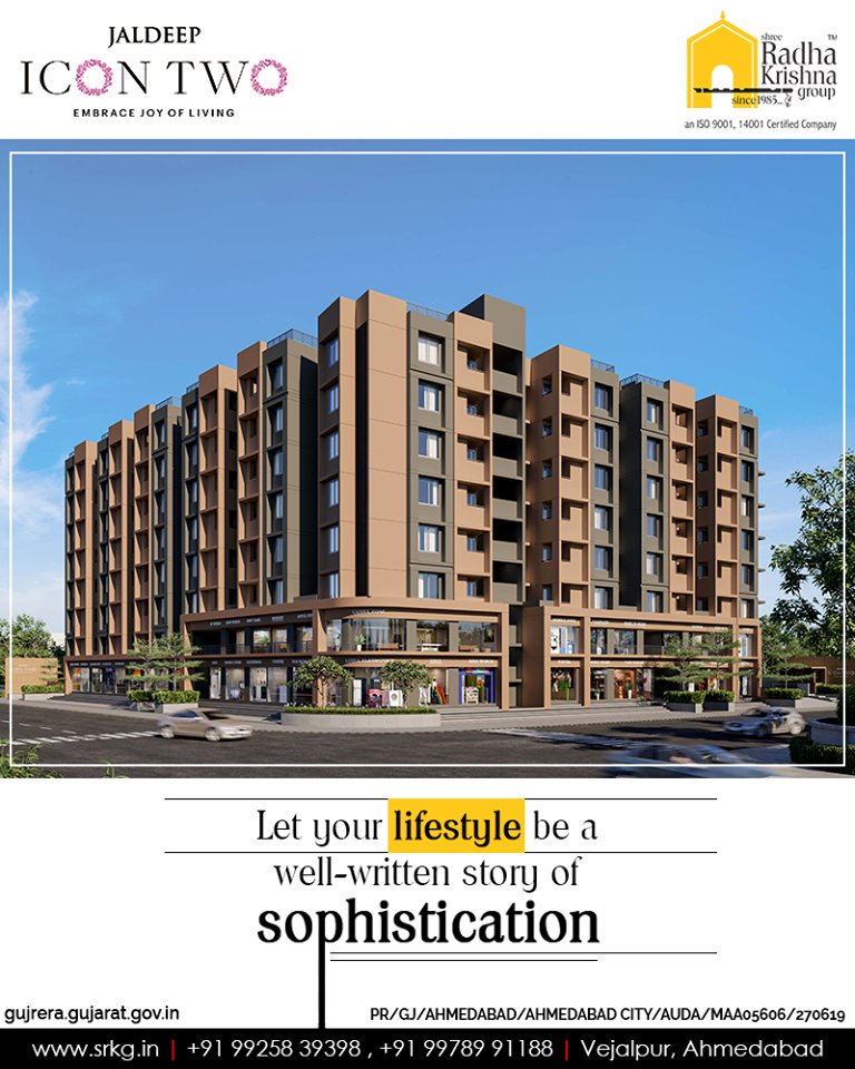 Let your lifestyle be a well-written story of sophistication at #JaldeepIcon2 that will have a cutting-edge style and the contemporary comforts.  #Icon2 #ShreeRadhaKrishnaGroup #Ahmedabad #RealEstate #SRKG https://t.co/eN5VfexKis