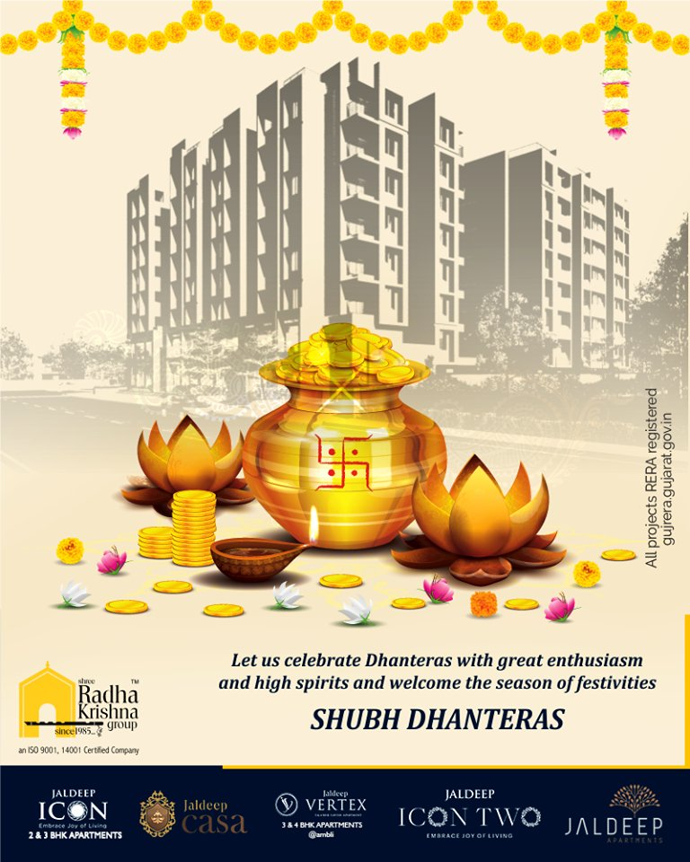Let us celebrate Dhanteras with great enthusiasm and high spirits and welcome the season of festivities.  #Dhanteras #Dhanteras2019 #ShubhDhanteras #IndianFestivals #DiwaliIsHere #Celebration #HappyDhanteras #ShreeRadhaKrishnaGroup #Ahmedabad #RealEstate #SRKG https://t.co/yM8oy7Gku1