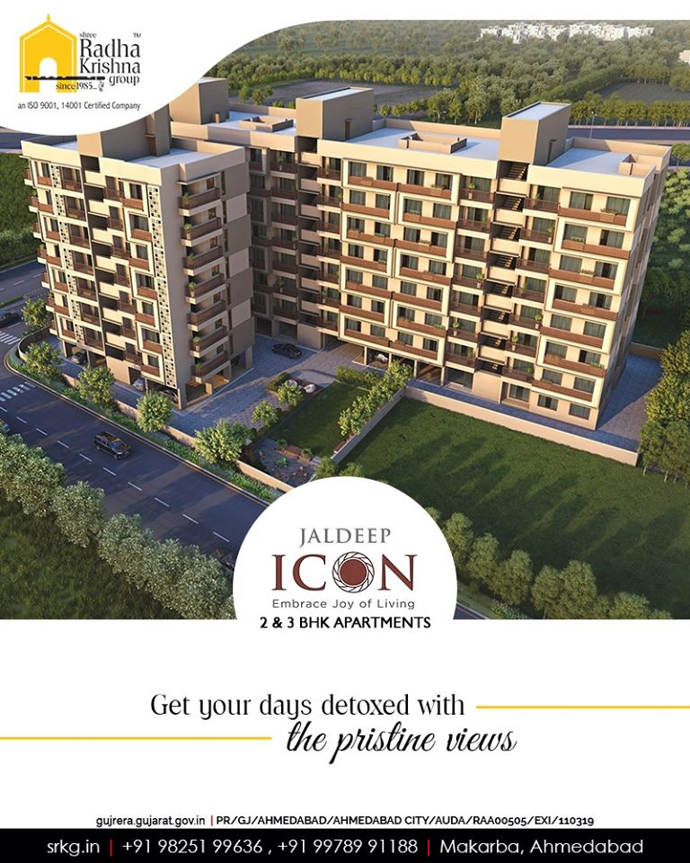 Happiness is owning an abode offering gorgeous views!  Get your days detoxed with the pristine views at #JaldeepIcon.  #Amenities #LuxuryLiving #ShreeRadhaKrishnaGroup #Ahmedabad #RealEstate #SRKG #IconicApartments #IconicLiving https://t.co/P4m2N49vcG