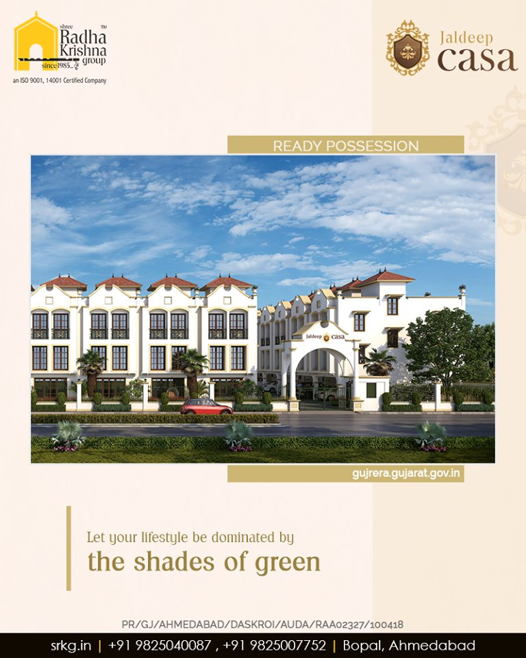 Think beyond the apartment living; letyour lifestyle be dominated by the shades of green at the awe-inspiring residential project; #JaldeepCasa.  #CasaLife #Amenities #LuxuryLiving #ShreeRadhaKrishnaGroup #Ahmedabad #RealEstate #SRKG https://t.co/ug7UTvNxM9