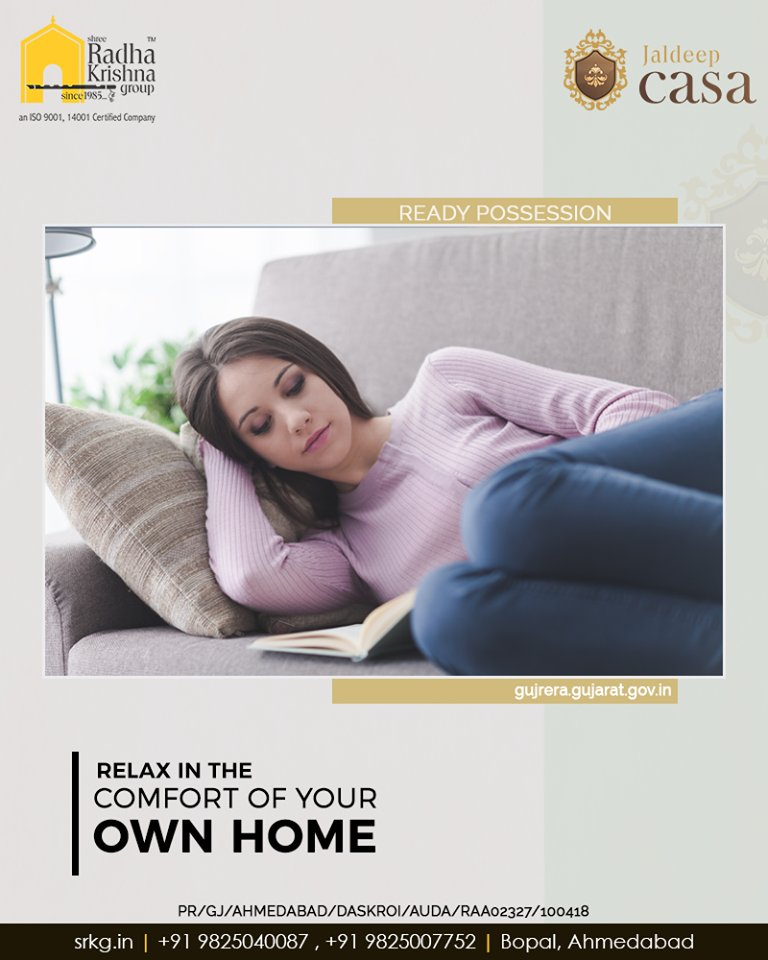 Embracing a relaxed lifestyle can be life-changing. Relax in the comfort of your own home.  Come home to a lavish lifestyle at #JaldeepCasa.  #WorkOfHappiness #Bopal #Amenities #LuxuryLiving #ShreeRadhaKrishnaGroup #Ahmedabad #RealEstate https://t.co/pI9F5NCifq