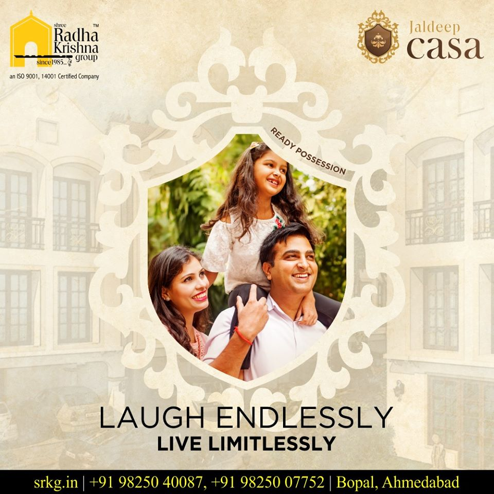 Laugh endlessly & live limitlessly.  Come home to a lavish lifestyle at #JaldeepCasa.  #WorkOfHappiness #Bopal #Amenities #LuxuryLiving #ShreeRadhaKrishnaGroup #Ahmedabad #RealEstate https://t.co/7o2svdJNU9