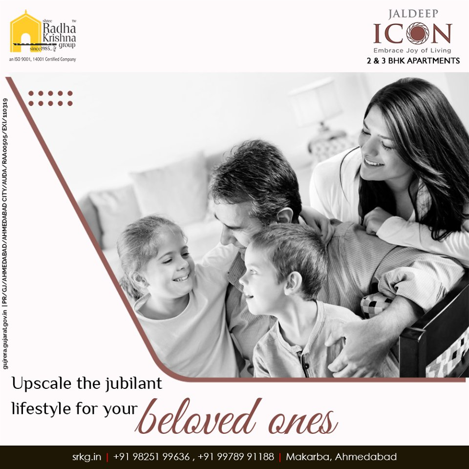 Upscale the jubilant lifestyle for your beloved ones by helping them to get access to all the life-changing amenities at #JaldeepIcon.  #AlluringApartments #ExpanseOfElegance #LuxuryLiving #ShreeRadhaKrishnaGroup #Ahmedabad #RealEstate #SRKG https://t.co/Af4fIyUzue