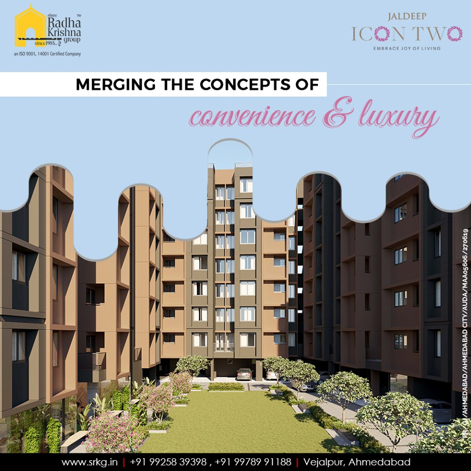 Merging the concepts of convenience and luxury; #JaldeepIcon2 anticipates offering the pleasant aesthetics around that will help its residents to stay connected to their roots.  #Amenities #LuxuryLiving #ShreeRadhaKrishnaGroup #Ahmedabad #RealEstate #SRKG #IconicApartments https://t.co/RzJGmVF0fd