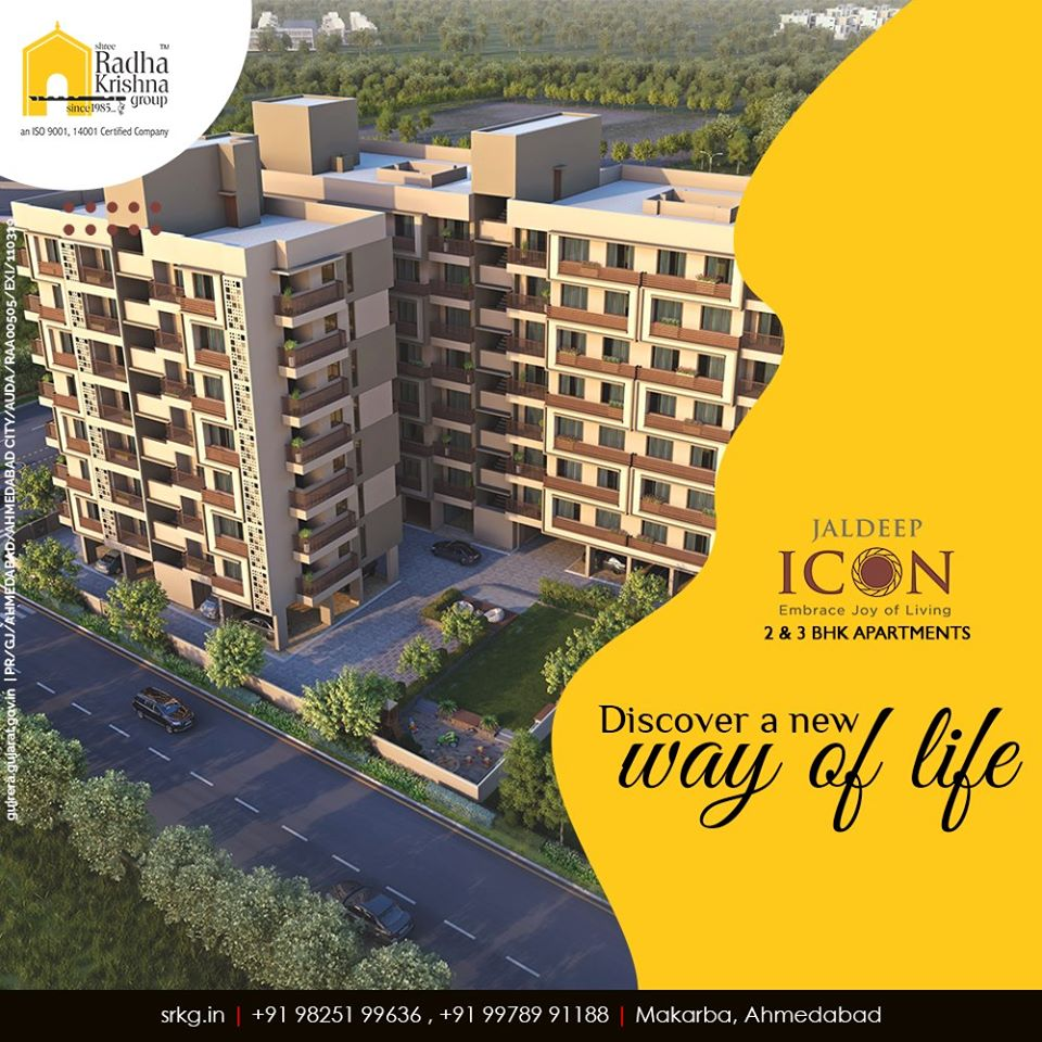 Bond with your beloved family, create wonderful stories and discover a new way of life at #JaldeepIcon.  #AlluringApartments #ExpanseOfElegance #LuxuryLiving #ShreeRadhaKrishnaGroup #Ahmedabad #RealEstate #SRKG https://t.co/bTJU1TXaSC