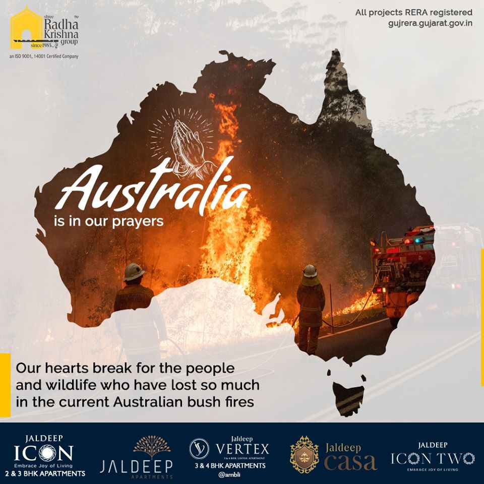 Our hearts break for the people and wildlife who have lost so much in the current Australian bush fires.  #PrayForAustralia #Australiafire #AustralianBushfire #AustraliaOnFire #ClimateEmergency #SRKG #ShreeRadhaKrishnaGroup #Ahmedabad #RealEstate https://t.co/7QYzmBWXnn