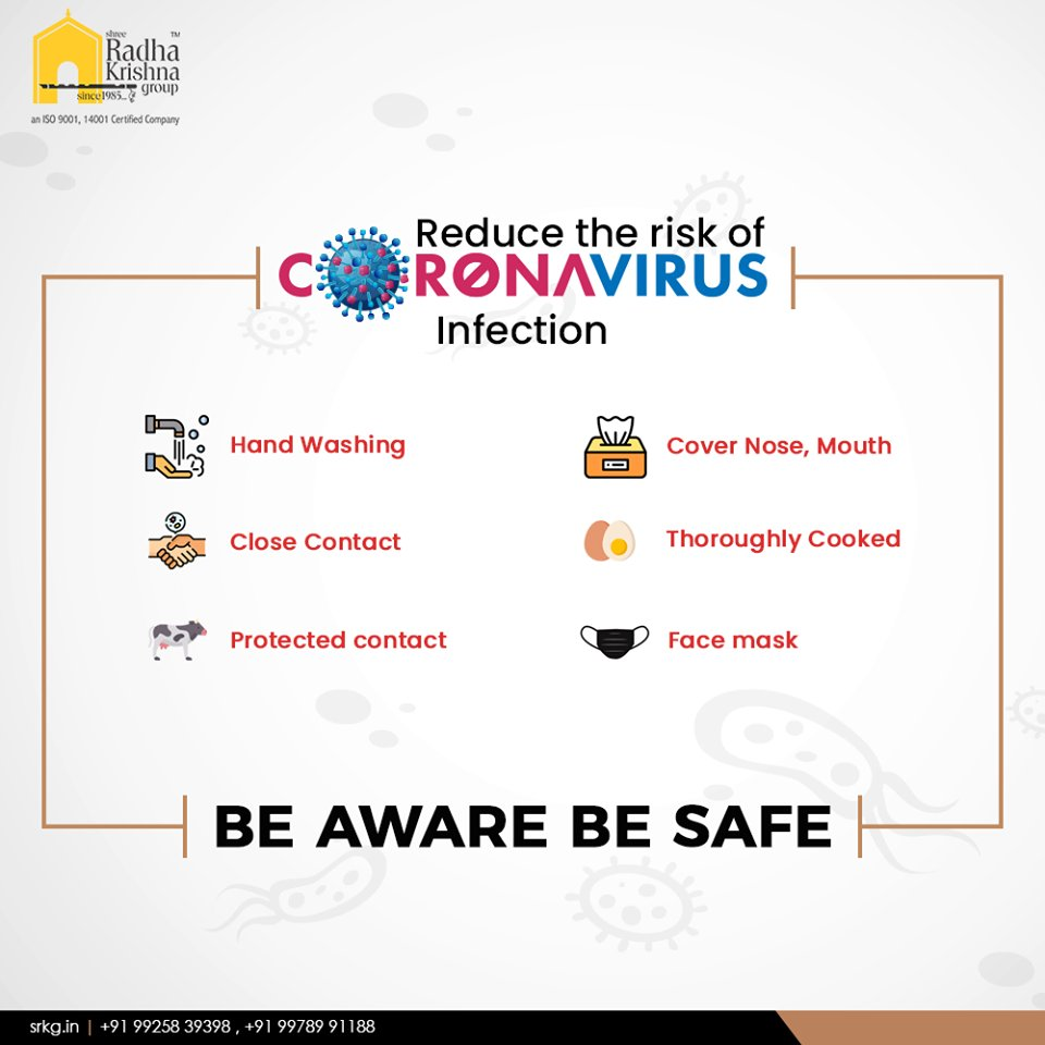 Reduce the risk of coronavirus.  #CoronaVirus #CoronaAlert #COVID19 #StayAware #StaySafe #ShreeRadhaKrishnaGroup #Ahmedabad #RealEstate https://t.co/Jau2hRqFvc