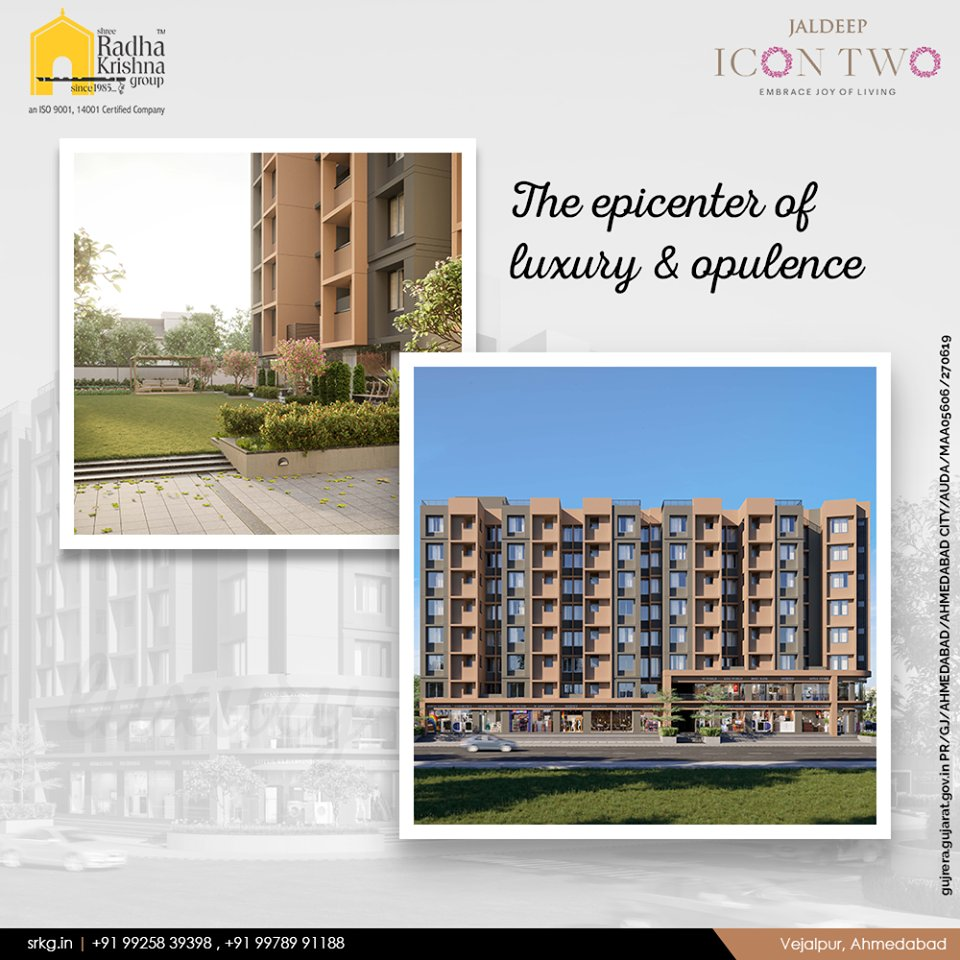 Enjoy the grandeurs of a fine life at the epicenter of luxury & opulence; #JaldeepIcon2.  #Icon2 #Vejalpur #LuxuryLiving #ShreeRadhaKrishnaGroup #Ahmedabad #RealEstate #SRKG https://t.co/8HYC0JzVDX