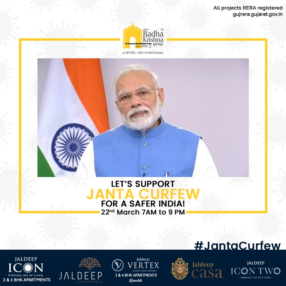 Let's support Janta Curfew for a safer India!  #IndiaFightsCorona #JantaCurfew #JantaCurfew2020 #Coronavirus #ShreeRadhaKrishnaGroup #Ahmedabad #RealEstate https://t.co/oSkUNJAxO4