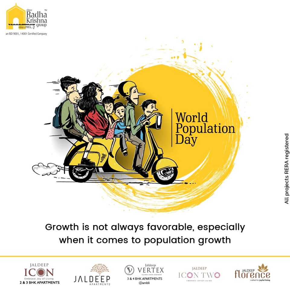 Growth is not always favourable, especially when it comes to population growth.  #WorldPopulationDay #PopulationDay #WorldPopulationDay2020 #ShreeRadhaKrishnaGroup #Ahmedabad #RealEstate #SRKG https://t.co/L9NGwnSorg