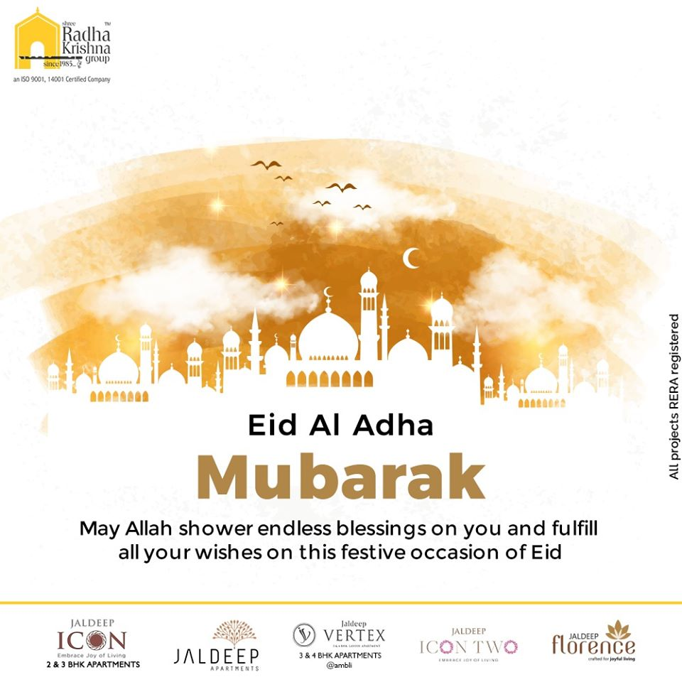 May Allah shower endless blessings on you and fulfill all your wishes on this festive occasion of Eid  #EidMubarak #EidAlAdha #EidAdhaMubarak #EidAlAdha2020 #BlessedEid #HappyEid #ShreeRadhaKrishnaGroup #Ahmedabad #RealEstate #SRKG https://t.co/QcvQ9eY1cA