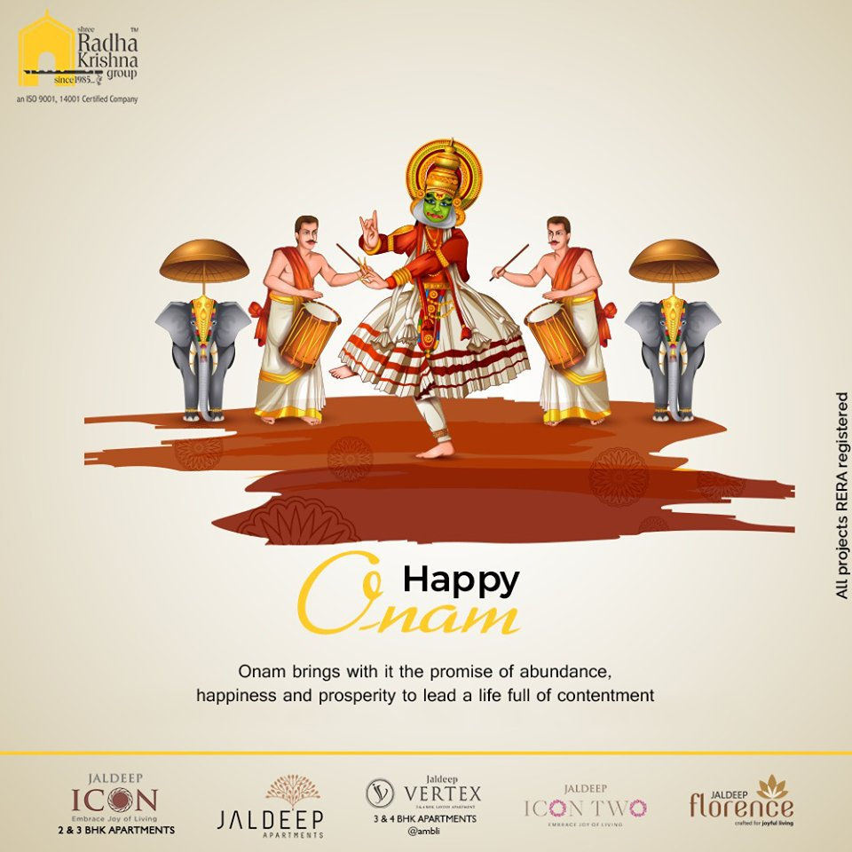 Onam brings with it the promise of abundance, happiness, and prosperity to lead a life full of contentment.  #HappyOnam #Onam #Onam2020 #ShreeRadhaKrishnaGroup #Ahmedabad #RealEstate #SRKG https://t.co/ruIcD4uwVj