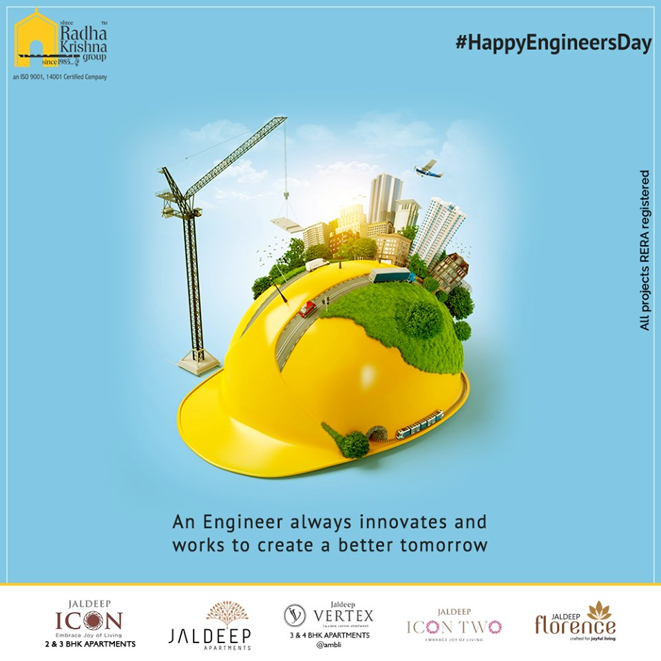 An Engineer always innovates and works to create a better tomorrow.  #EngineersDay #EngineersDay2020 #Engineering #HappyEngineersDay #ShreeRadhaKrishnaGroup #Ahmedabad #RealEstate #SRKG https://t.co/cIvk2jqbR8